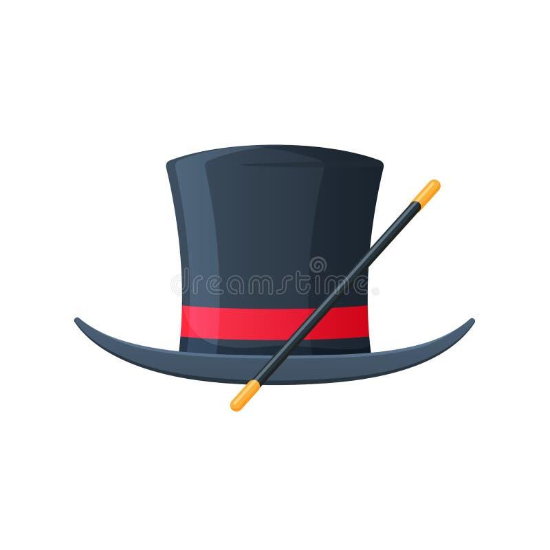 与魔术鞭子的魔术帽子 辅助部件是魔术师,魔术师 库存例证