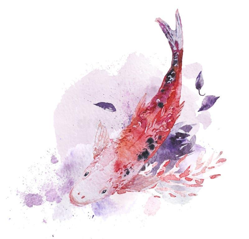 与鱼、摄影油漆下落和背景的艺术性的手拉的水彩构成 皇族释放例证