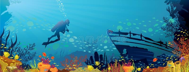 与鱼和潜水员的色的珊瑚礁 皇族释放例证