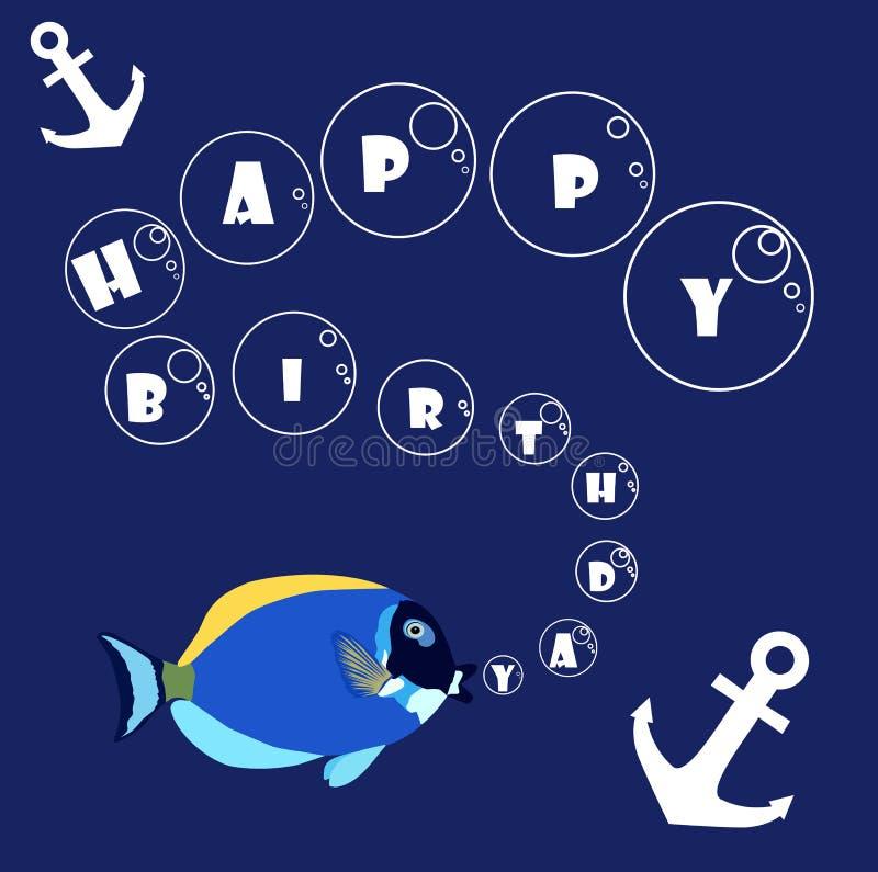 与鱼和船锚的生日快乐 免版税库存照片