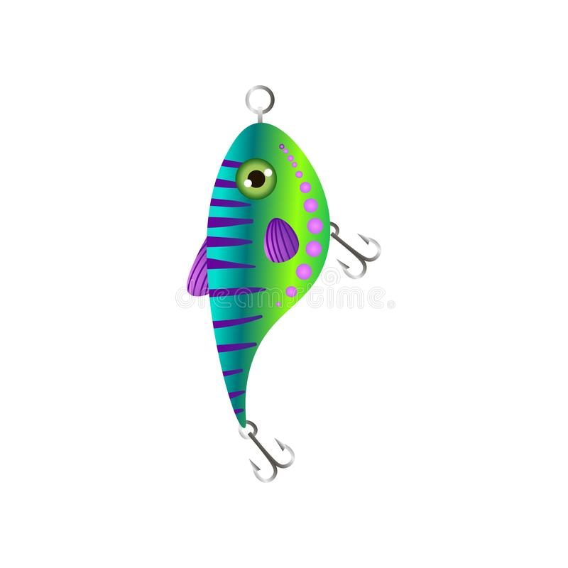 与鱼圆的形式的绿色梯度鱼饵 库存例证