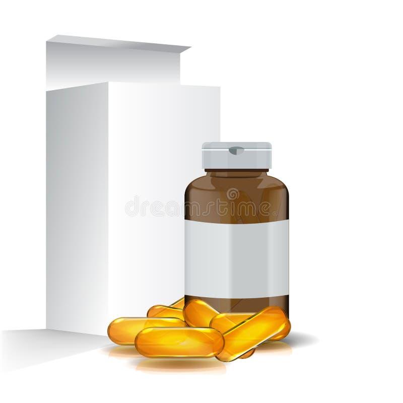 与鱼油药片的空白的现实Ω 3成套设计 皇族释放例证