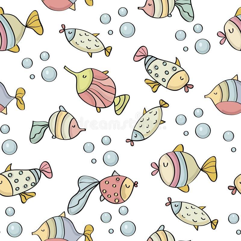 与鱼的乱画无缝的样式 库存例证