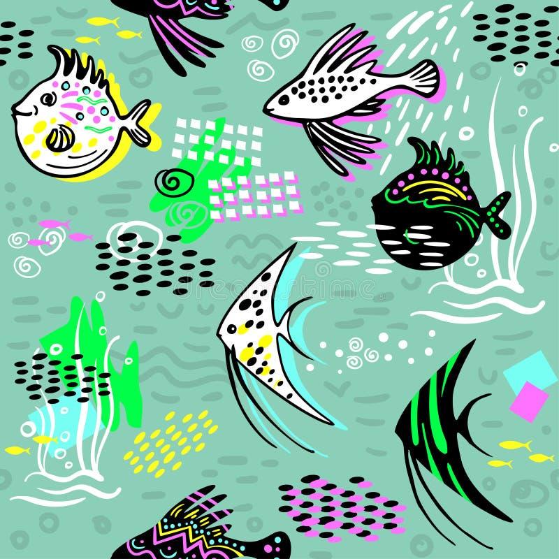 与鱼的垂直的无缝的边界 向量例证