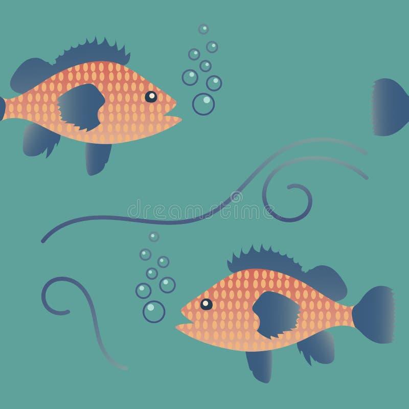 与鱼的无缝的样式在水下的世界 可以为瓦片,墙纸,纺织品,包裹,卡片,盖子使用 向量例证