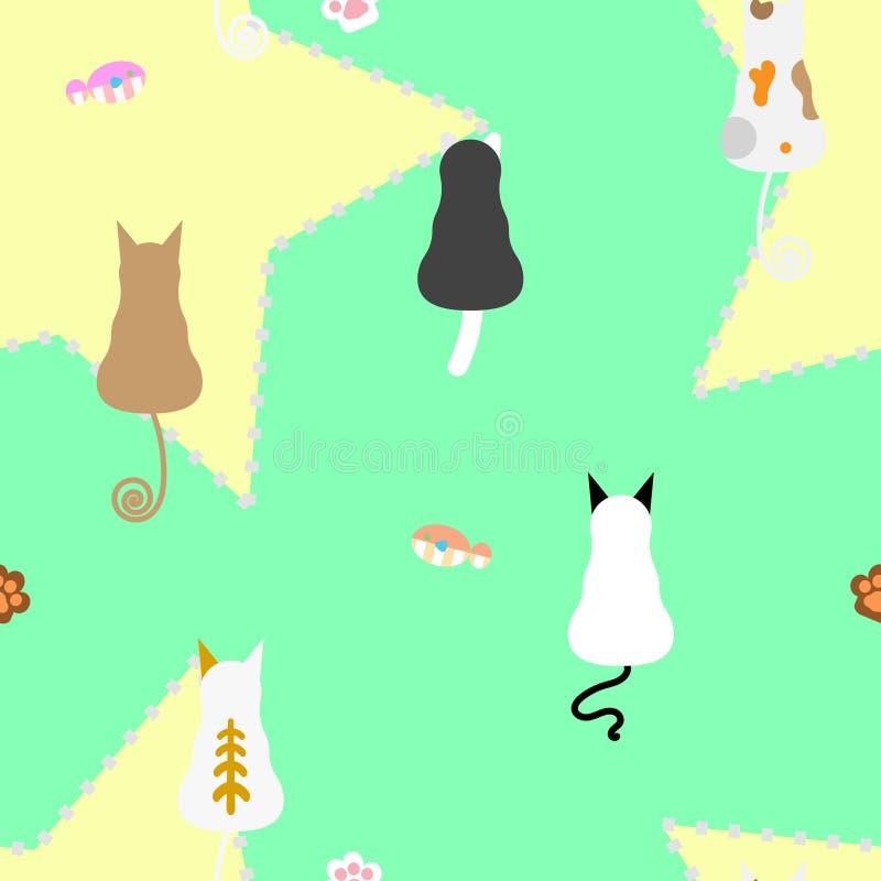 与鱼的无缝的猫重复样式和脚打印 库存例证