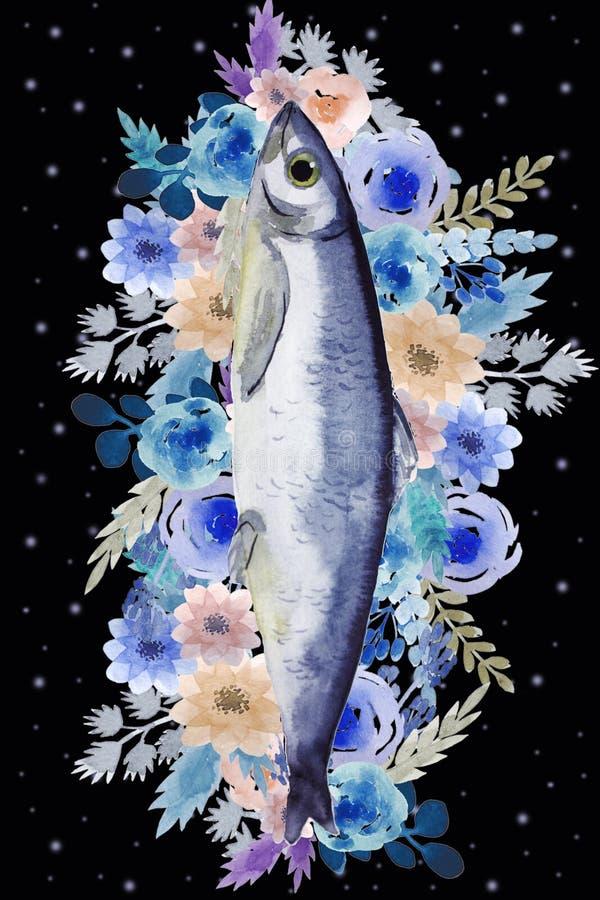 与鱼的明信片 皇族释放例证