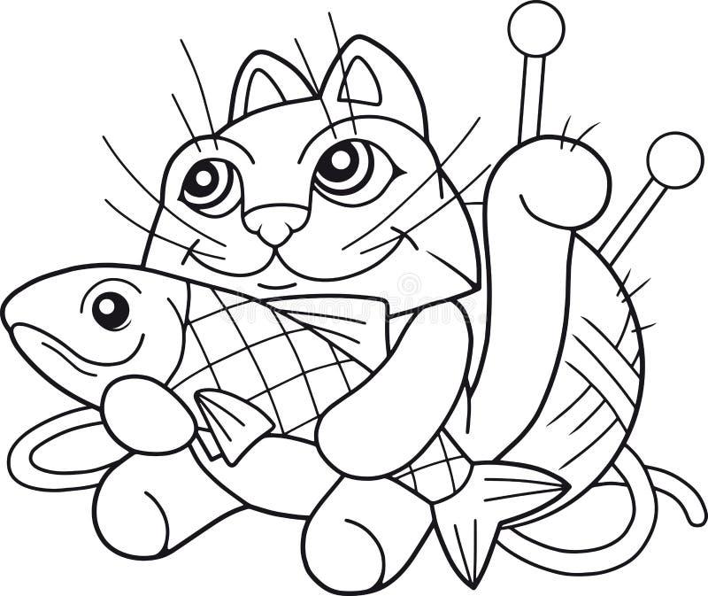 与鱼的滑稽的猫 向量例证