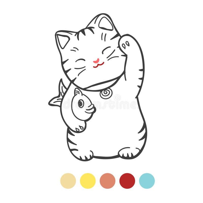 与鱼着色页的逗人喜爱的小猫 皇族释放例证