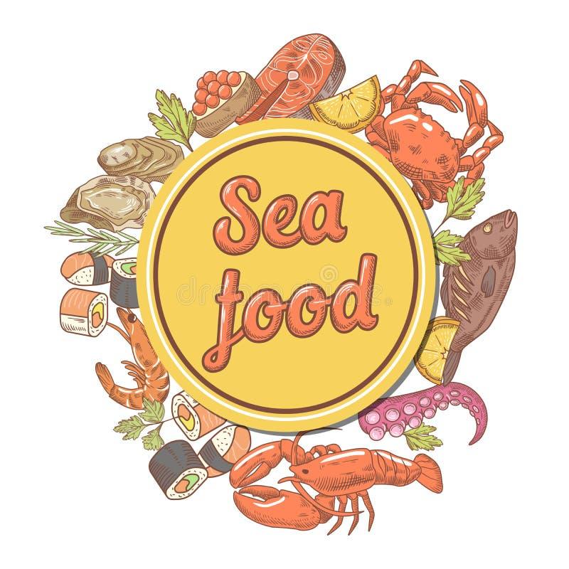 与鱼螃蟹和龙虾餐馆菜单模板的海鲜设计 象查找的画笔活性炭被画的现有量例证以图例解释者做柔和的淡色彩对传统 皇族释放例证