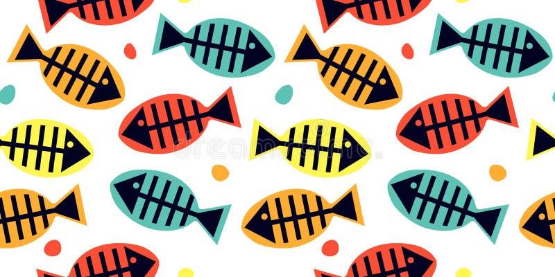 与鱼骨多彩多姿的剪影的无缝的样式在白色背景的 向量例证