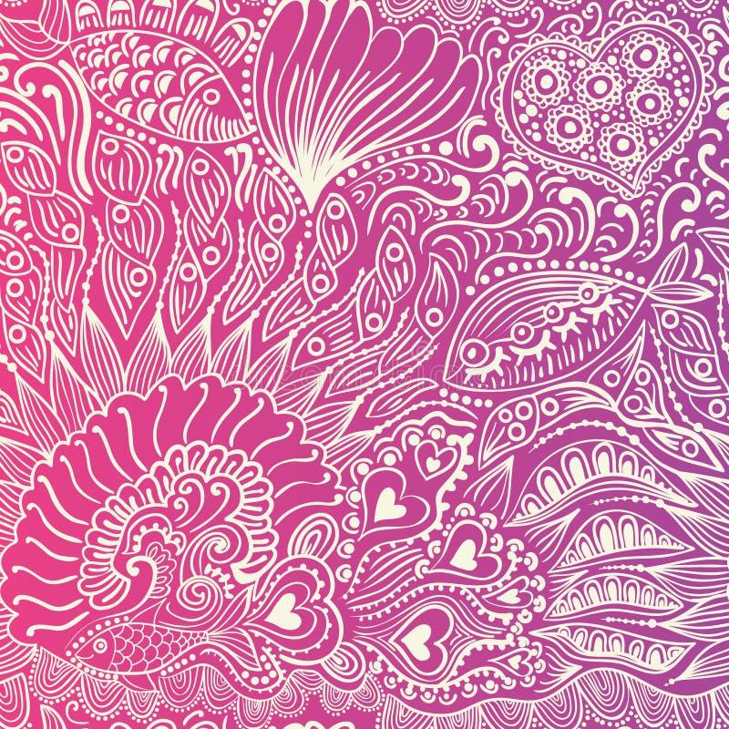 与鱼,心脏,花的抽象无缝的纹理 不尽的ba 皇族释放例证