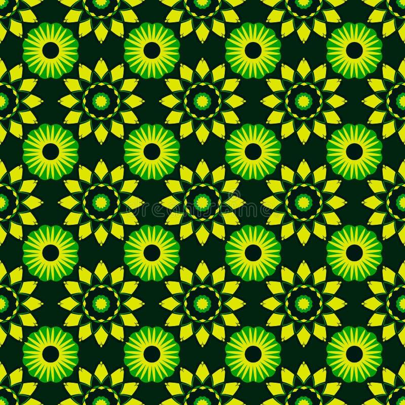 与鲜绿色的五颜六色的几何颜色的无缝的样式 向量例证
