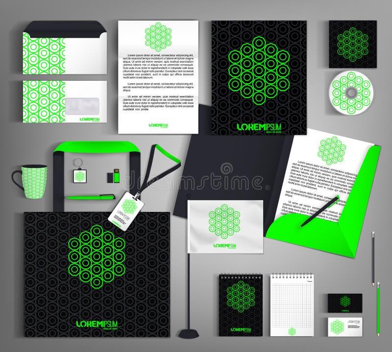 与鲜绿色的元素的黑公司本体 皇族释放例证