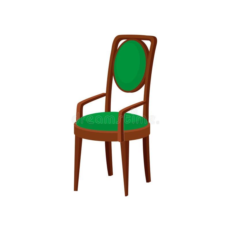 与鲜绿色的室内装饰品的葡萄酒木椅子 与扶手和后面架靠背平的传染媒介象的舒适的位子 库存例证