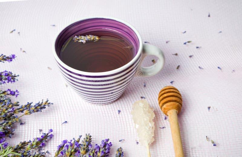 与鲜花的淡紫色茶和糖黏附 库存照片