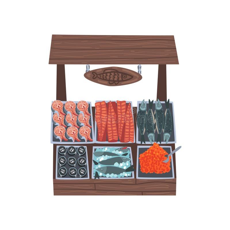 与鲜鱼,街道商店陈列室传染媒介例证的市场木柜台 向量例证