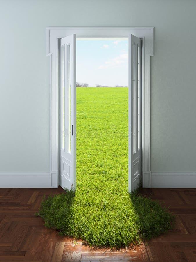 与鲜绿色的草的门 向量例证