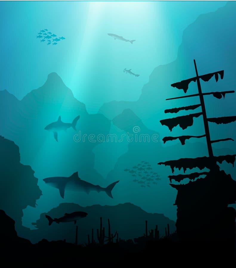与鲨鱼和凹下去的船的水下的世界 向量例证