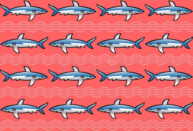 与鲨鱼的样式在桃红色背景 向量例证