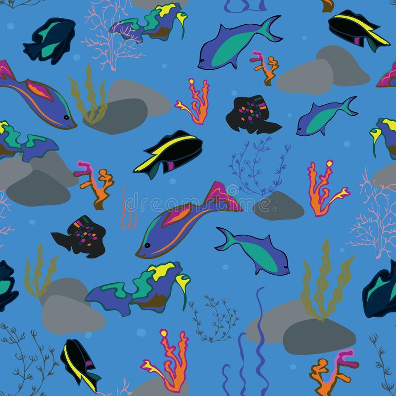 与鲸鱼、海草、珊瑚和鱼的无缝的样式 库存例证
