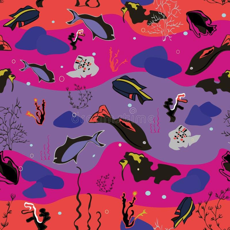与鲸鱼、海草、珊瑚和鱼的无缝的样式 向量例证
