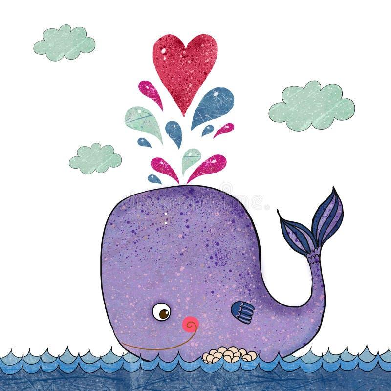 与鲸鱼和红色心脏的动画片例证 与滑稽的鲸鱼的海洋例证 另外的卡片形式节假日 爱例证 库存例证