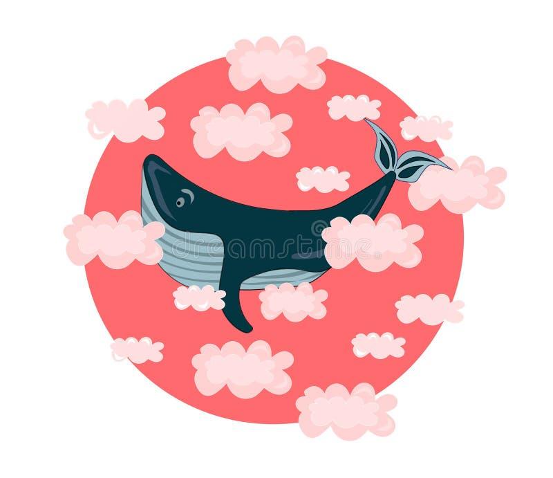 与鲸鱼的传染媒介例证在桃红色云彩 婴孩,孩子,逗人喜爱,kawaii印刷品 向量例证
