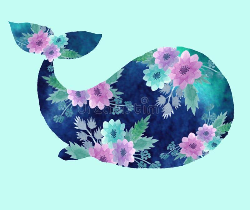 与鲸鱼的印刷品 库存例证