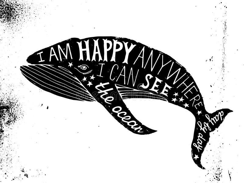 与鲸鱼的印刷海报 库存例证