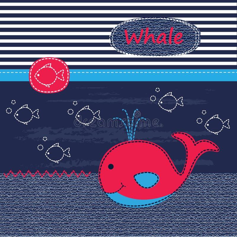 与鲸鱼的逗人喜爱的婴孩背景 库存例证