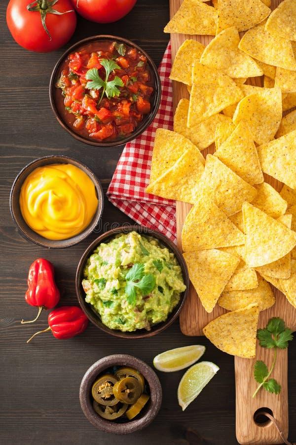 与鳄梨调味酱捣碎的鳄梨酱、辣调味汁和乳酪d的墨西哥烤干酪辣味玉米片玉米片 库存图片