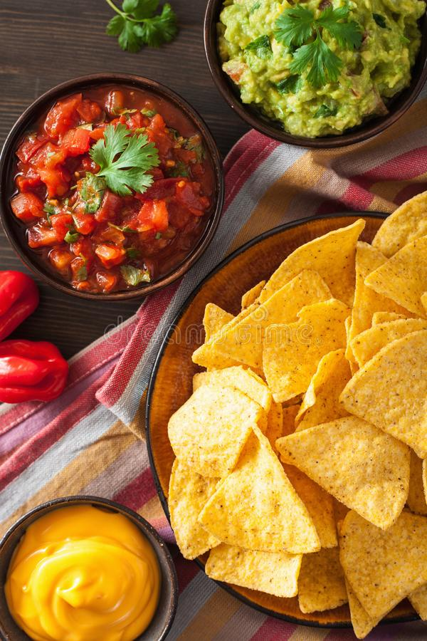 与鳄梨调味酱捣碎的鳄梨酱、辣调味汁和乳酪d的墨西哥烤干酪辣味玉米片玉米片 免版税图库摄影