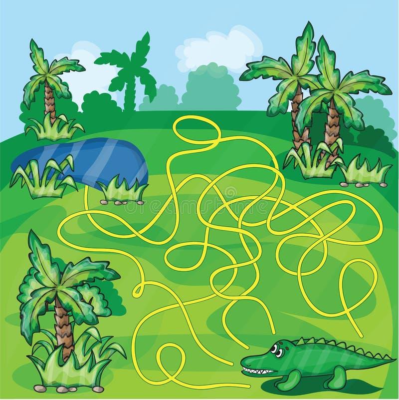 与鳄鱼的迷宫比赛 向量例证