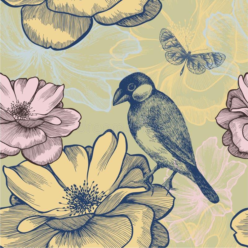 与鸟、玫瑰和butterfl的无缝的背景 库存例证