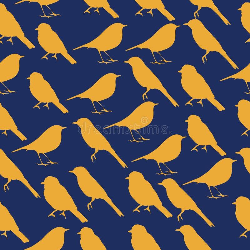 与鸟剪影的无缝的纹理  向量例证