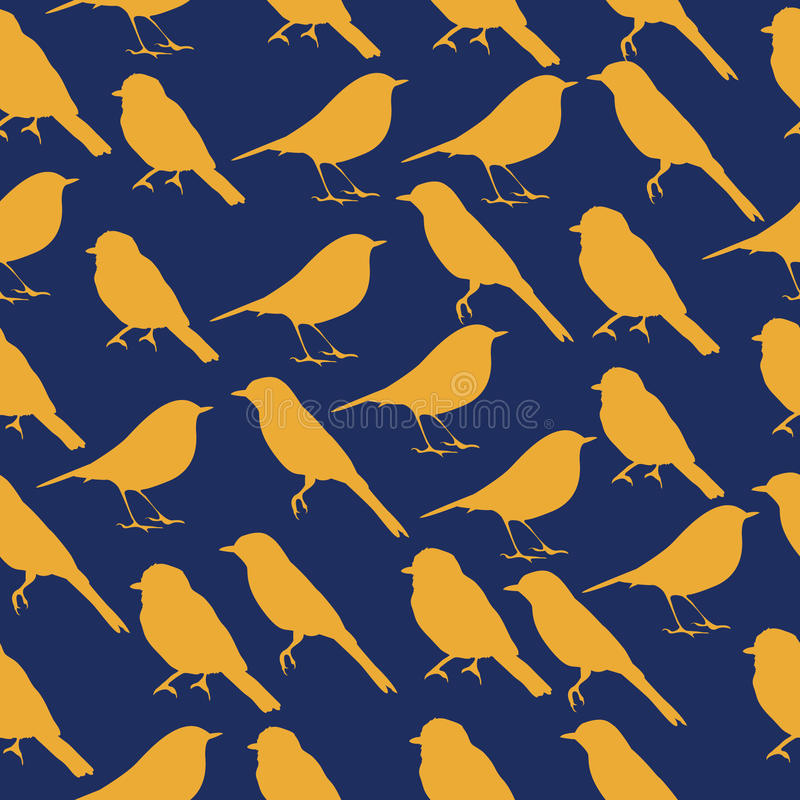 与鸟剪影的无缝的纹理  皇族释放例证