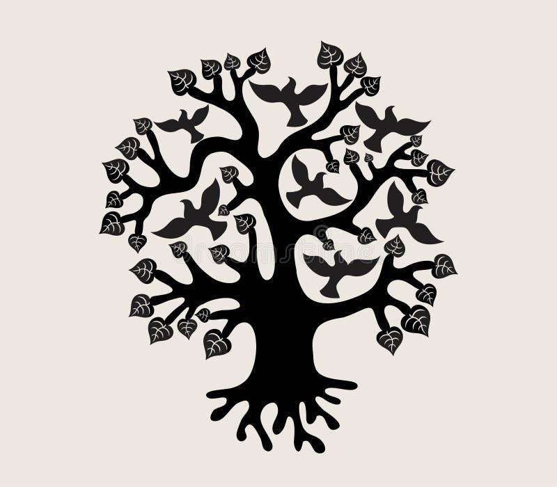 与鸟剪影的树,标志和标志设计 向量例证
