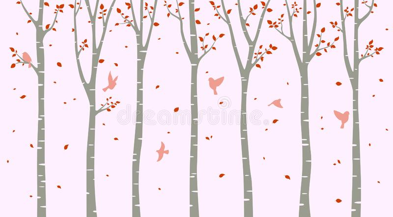 与鸟剪影的桦树在桃红色背景 向量例证