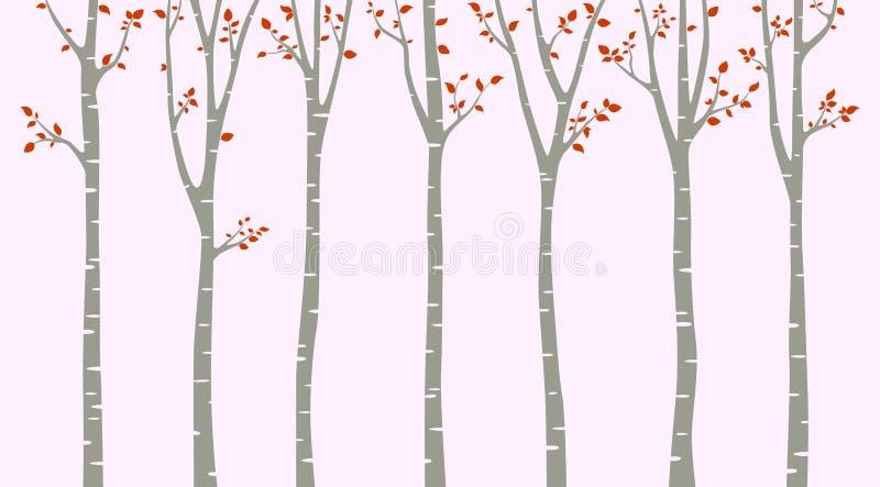 与鸟剪影的桦树在桃红色背景 库存例证