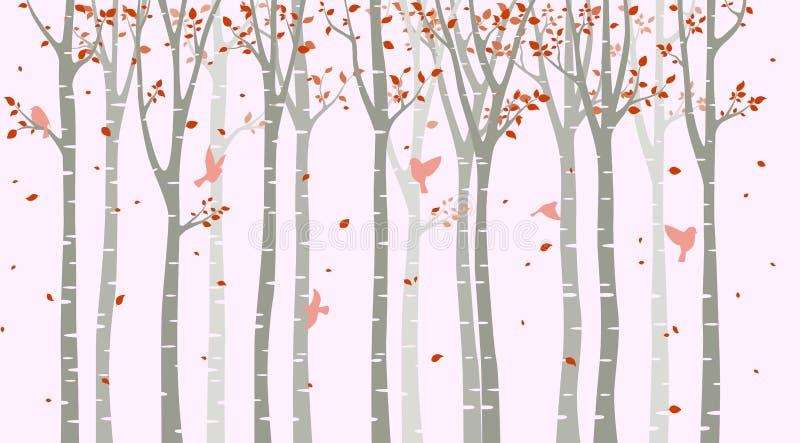 与鸟剪影的桦树在桃红色背景 皇族释放例证