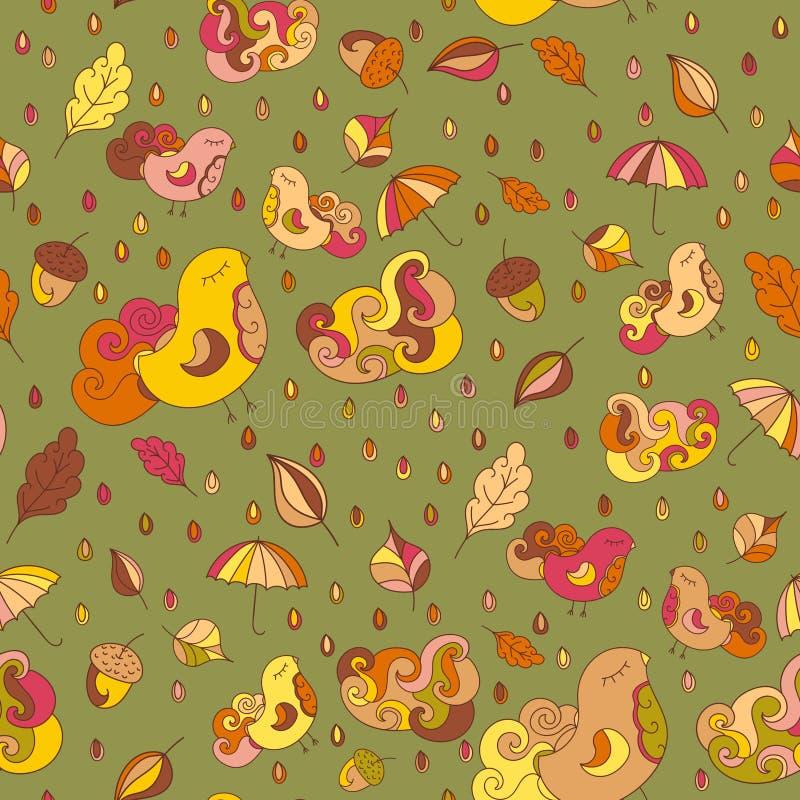 与鸟和叶子的无缝的样式 传染媒介秋天题材背景 faric或其他的不尽的样式设计 皇族释放例证