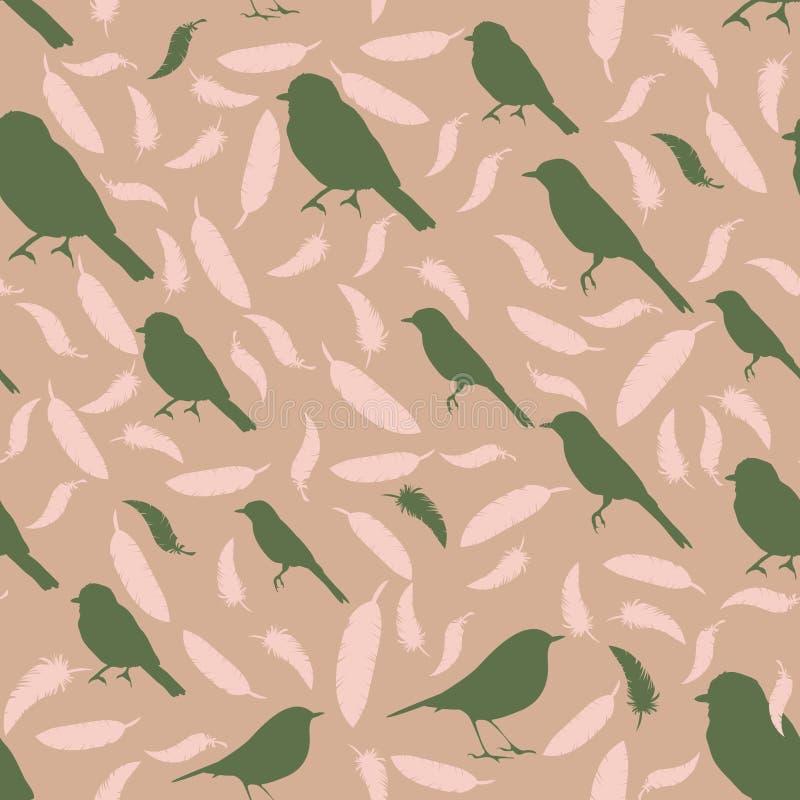 与鸟和羽毛的无缝的样式 鸟和feath色的剪影  皇族释放例证