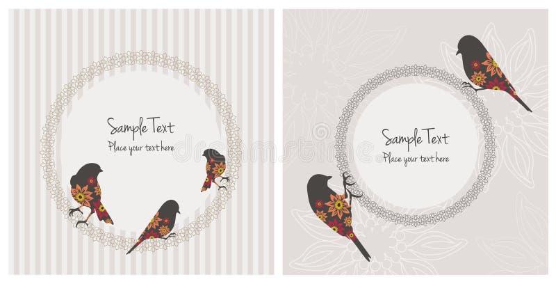 与鸟和花的葡萄酒卡片 向量例证