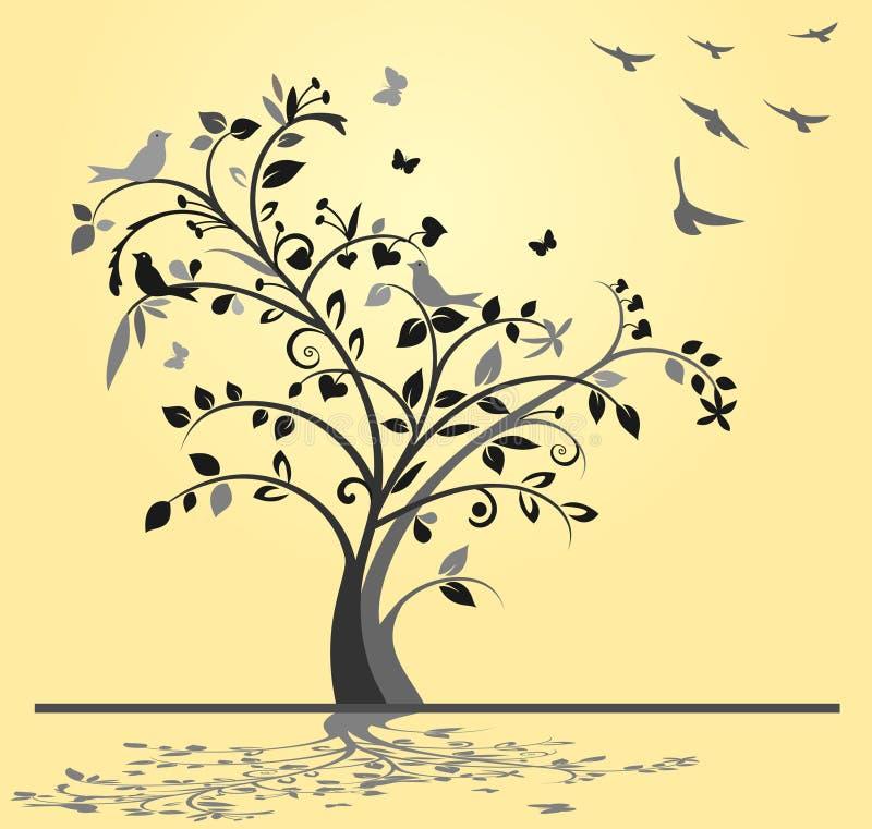 与鸟的树 库存例证