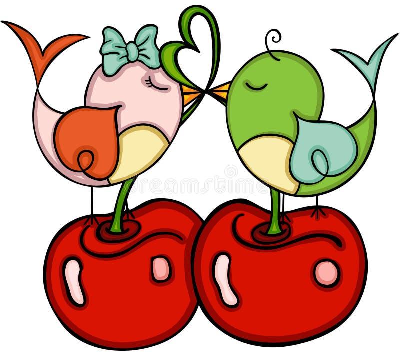 与鸟夫妇的爱恋的樱桃在爱的 皇族释放例证