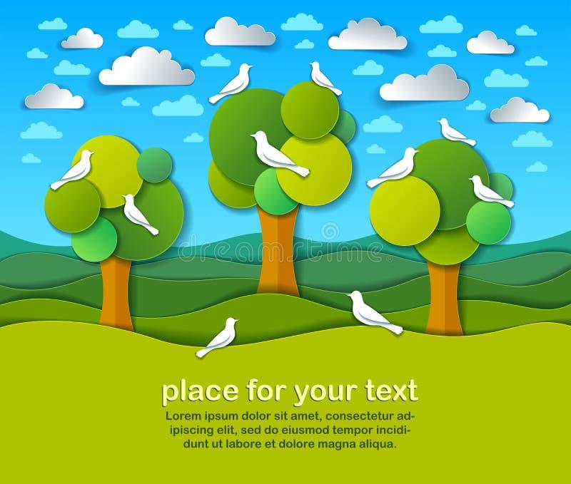 与鸟的三棵树在领域风景自然风景动画片现代样式纸裁减传染媒介 库存例证