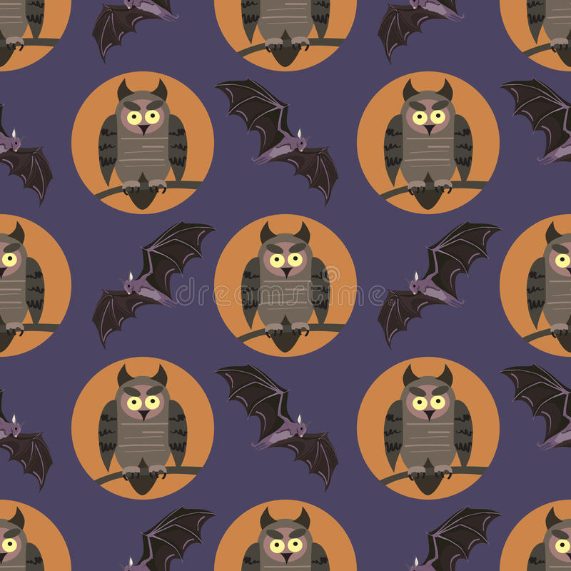 与鸟的传染媒介无缝的样式 在分支的猫头鹰和棒 播种被扩大的火光灵活性光晕月光奥秘影子蜘蛛网的大明亮的铸件古怪 皇族释放例证