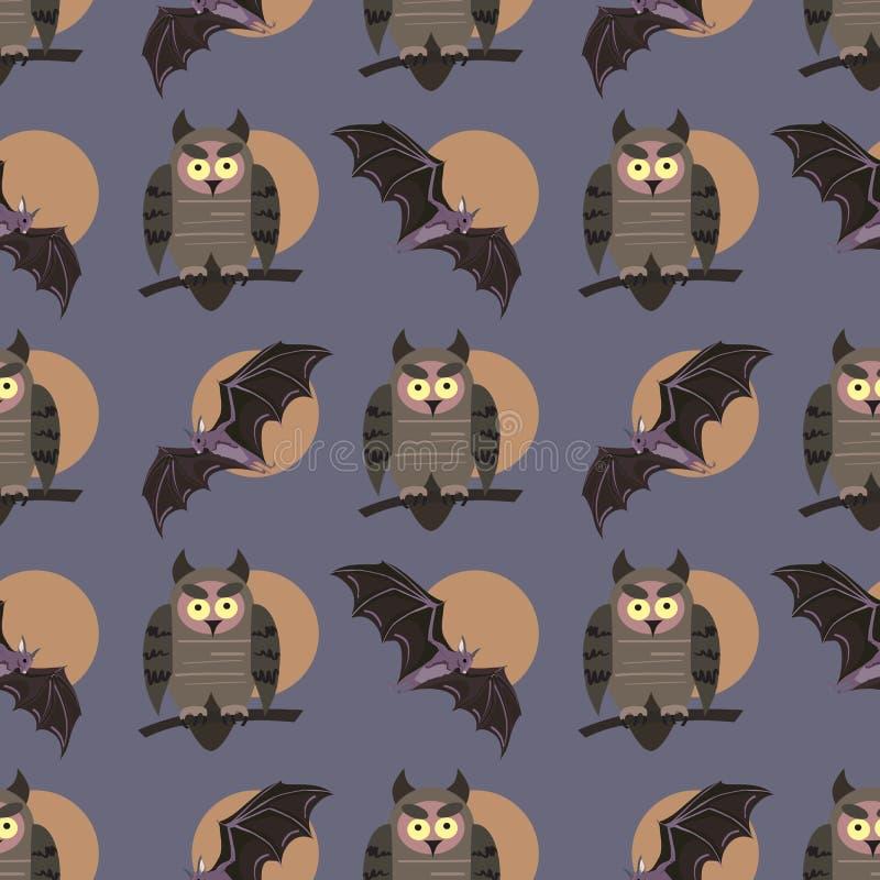 与鸟的传染媒介无缝的样式 在分支的猫头鹰和棒 播种被扩大的火光灵活性光晕月光奥秘影子蜘蛛网的大明亮的铸件古怪 库存例证