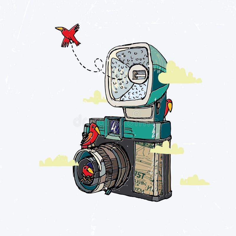 与鸟的减速火箭的照相机 免版税库存图片